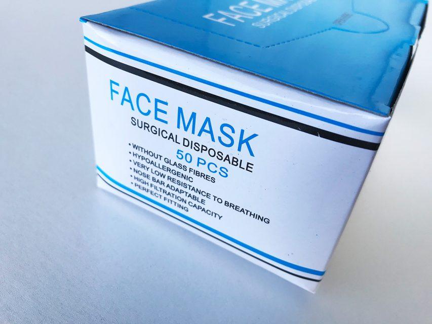 使い捨てサージカルマスク、ノーズワイヤー入り 内容量:50枚入り×1箱